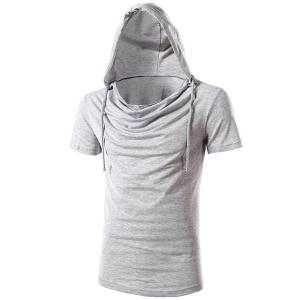 Vogue Hooded Solid Color Short Sleeves Slimming T-Shirt For Men