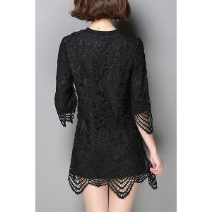 Women's Trendy Lace Asymmetrical 3/4 Sleeve Jewel Neck Dress -