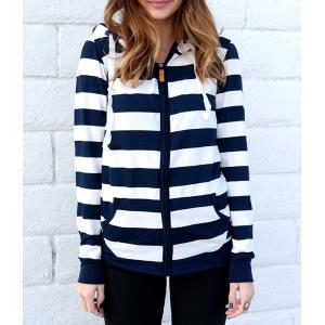 Long Sleeve Striped Zippered Women's Hoodie - Blue And White - Xl