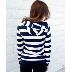 Long Sleeve Striped Zippered Women's Hoodie - BLUE AND WHITE S