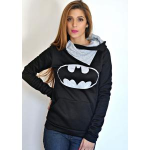 Chic Hooded Long Sleeves Pocket Design Printed Women's Hoodie - BLACK M