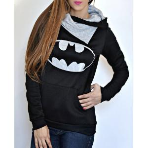 Chic Hooded Long Sleeves Pocket Design Printed Women's Hoodie
