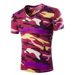 Camouflage Loose Fit Short Sleeves V-Neck T-Shirt For Men - Red - 2xl