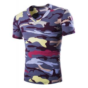 Camouflage Loose Fit Short Sleeves V-Neck T-Shirt For Men - Purple - M