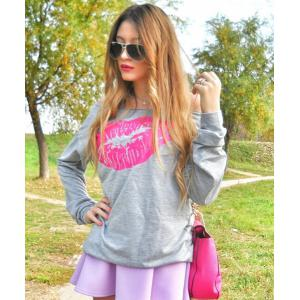 Sexy Color Block Lip Printed Pullover Sweatshirt For Women -