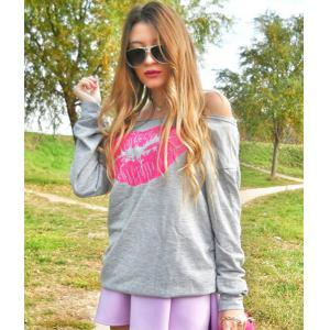 Sexy Color Block Lip Printed Pullover Sweatshirt For Women - GRAY S
