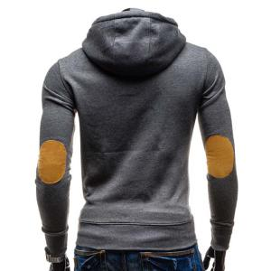 Trendy Hooded Oblique Button Patched Splicing Slimming Long Sleeve Cotton Blend Hoodie For Men -