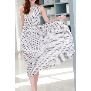 Ladylike Jewel Neck Sleeveless Polka Dot Cut Out Chiffon Dress For Women -