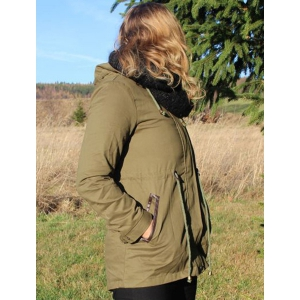 Hooded Waist Drawstring Spliced Long Coat Jacket - ARMY GREEN M