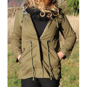 Hooded Waist Drawstring Spliced Long Coat Jacket - Army Green - Xl