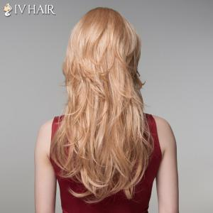 Trendy Inclined Bang Human Hair Long Curly Wig For Women -