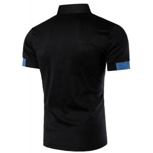 Denim Spliced Color Block Turn-down Collar Short Sleeves Polo T-Shirt For Men - BLACK L