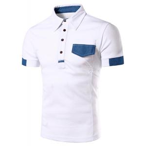 Denim Spliced Color Block Turn-down Collar Short Sleeves Polo T-Shirt For Men