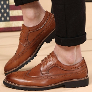 Trendy Engraving and PU Leather Design Formal Shoes For Men - BROWN 38