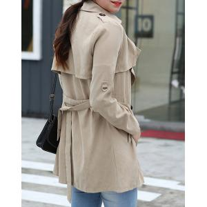 Stylish Turn-Down Collar Long Sleeve Double-Breasted Khaki Belted Coat For Women -