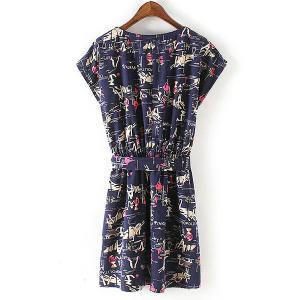 Casual Scoop Neck Elastic Waist Printed Dress For Women -