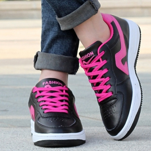 Fashion Lace-Up and Color Matching Design Sneakers For Women - RED WITH BLACK 39