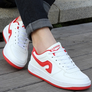 Fashion Lace-Up and Color Matching Design Sneakers For Women - RED WITH WHITE 37