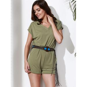 Casual Style V Neck Short Sleeve Solid Color Romper For Women -