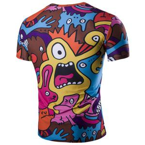 Funny Cartoon Print Short Sleeves Round Neck T-Shirt For Men -