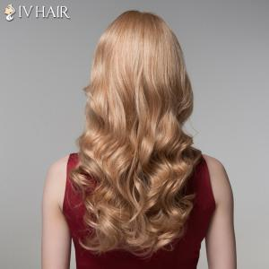 Ladylike Side Bang Human Hair Long Wavy Wig For Women -