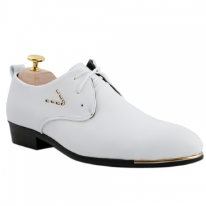 Stylish Pointed Toe and Lace-Up Design Formal Shoes For Men - White - 43
