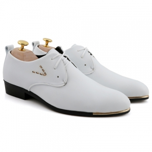 Stylish Pointed Toe and Lace-Up Design Formal Shoes For Men - WHITE 42