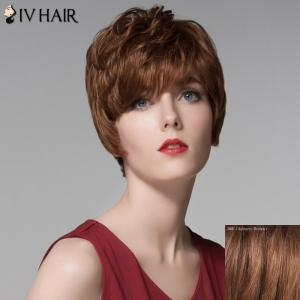 Fluffy Inclined Bang Human Hair Short Wig For Women