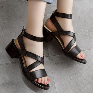 Fashion Cross-Strap and Black Design Sandals For Women -