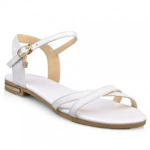 Simple Buckle Strap and Flat Heel Design Sandals For Women - White - 36