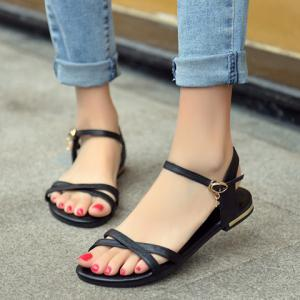 Simple Buckle Strap and Flat Heel Design Sandals For Women - BLACK 36
