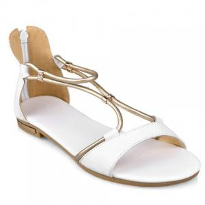 Simple Zipper and Flat Heel Design Sandals For Women - White - 34