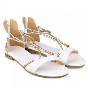 Simple Zipper and Flat Heel Design Sandals For Women - WHITE 34