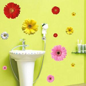 Fashion Removable Colorful Daisy Pattern Bedroom Decoration Wall Stickers -