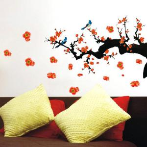 Fashion Floral Plant Pattern Bedroom Decoration TV Background Wall Stickers -