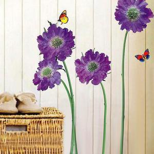 Removable Floral Butterflies Vinyl Wall Art Stickers - Purple - 60*90cm