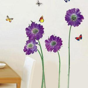 Removable Floral Butterflies Vinyl Wall Art Stickers - PURPLE
