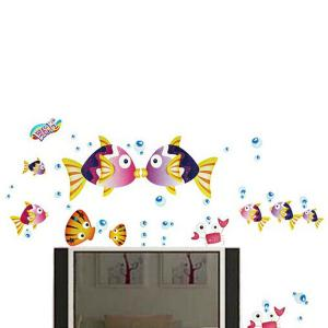 Removable Kissing Fish Vinyl Home Decoration Wall Stickers - COLORMIX
