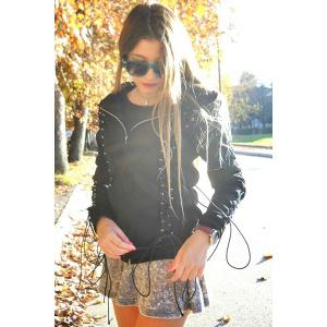 Chic Hooded Long Sleeve Lace-Up Zippered Women's Hoodie - BLACK S