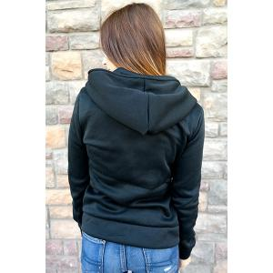 Stylish Hooded Long Sleeve Zippered Slimming Women's Hoodie -