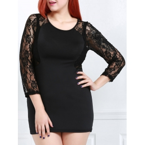 Sexy Scoop Neck Long Sleeve Flower Pattern See-Through Women's Dress