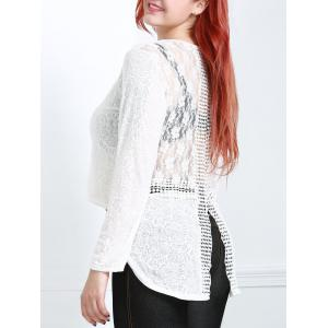 Long Sleeve Lace Trim Sheer T-Shirt - Off-white - 4xl