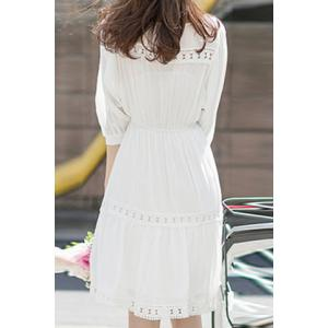 Refreshing White 3/4 Sleeve High Waist Cut Out Dress For Women -