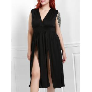 Sexy Plunging Neck Sleeveless Solid Color High Slit Plus Size Women's Dress - Black - Xl