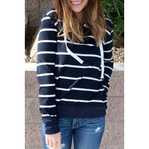 Stylish Hooded Long Sleeve Drawstring Striped Women's Hoodie - Cadetblue - Xl