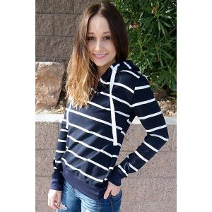 Stylish Hooded Long Sleeve Drawstring Striped Women's Hoodie - CADETBLUE S