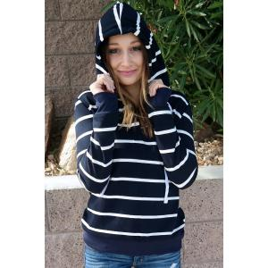 Stylish Hooded Long Sleeve Drawstring Striped Women's Hoodie - CADETBLUE M
