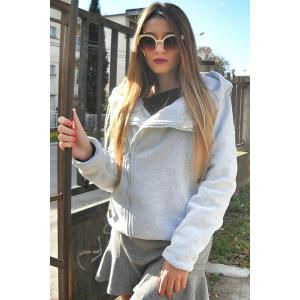 Chic Long Sleeve Pure Color Hoodie For Women - GRAY S