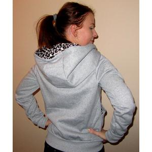 Casual Style Hooded Long Sleeve Leopard Print Women's Zip Up Hoodie - GRAY L