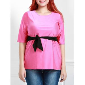 Casual Round Collar Half Sleeve Belted Plus Size Blouse For Women